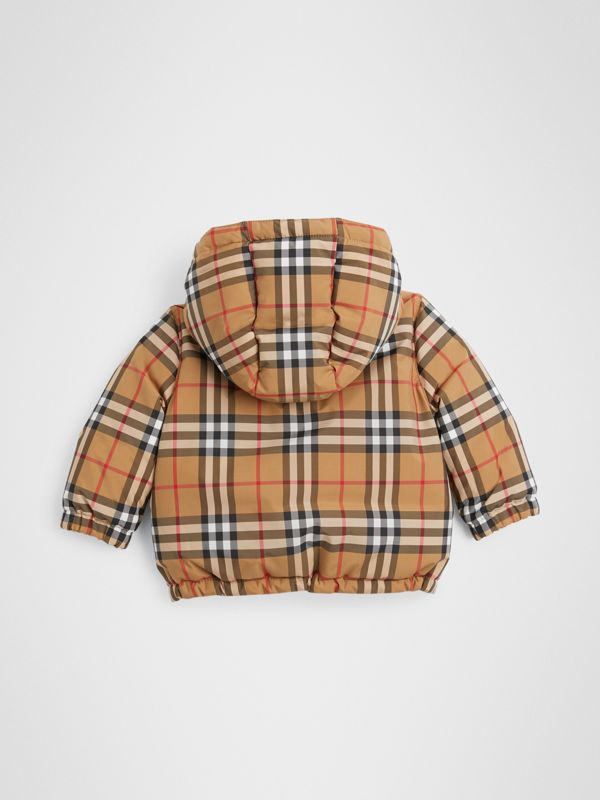 Vintage Check Down-filled Hooded Jacket in Antique Yellow - Children | Burberry - cell image 3