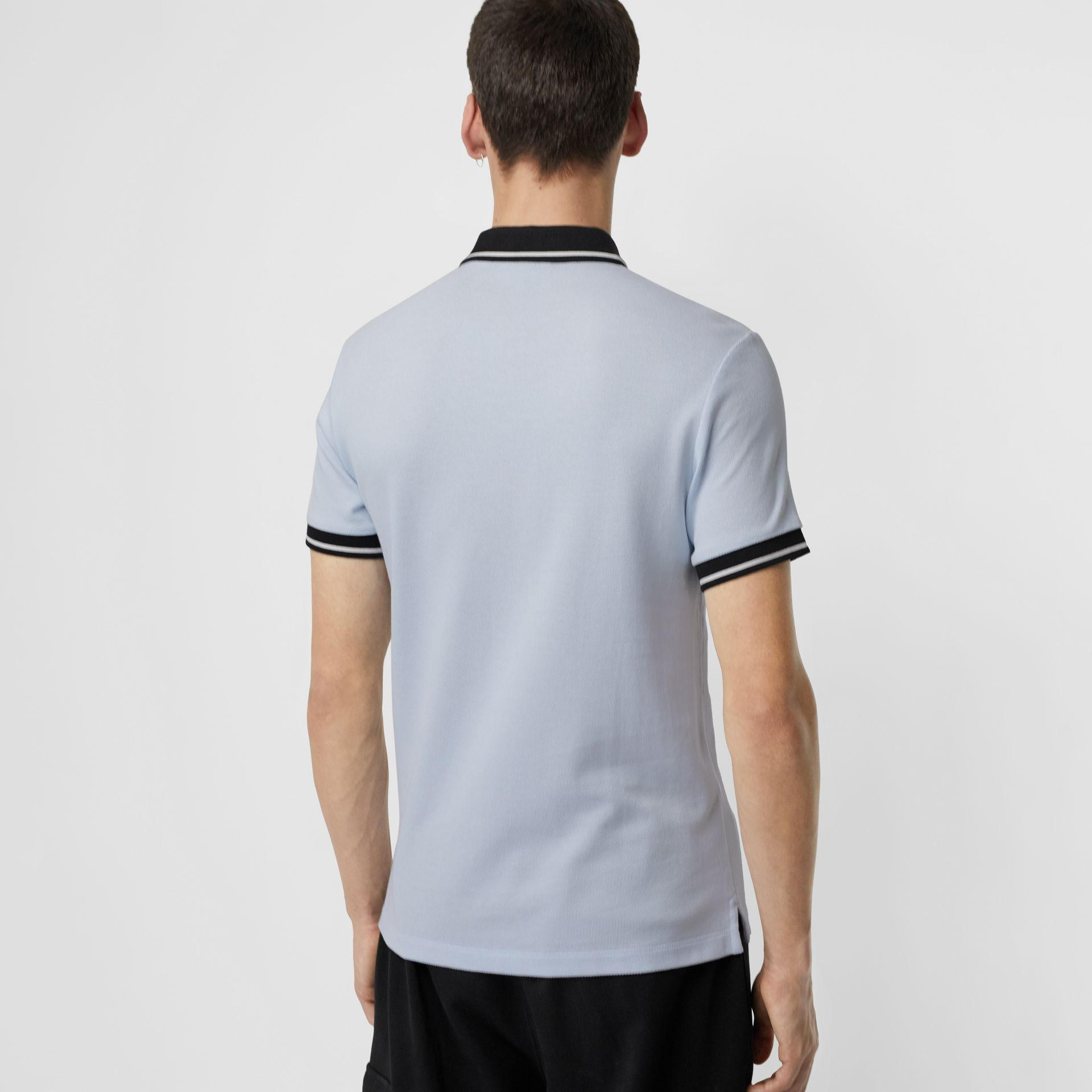 Tipped Cotton Piqué Polo Shirt in Light Indigo - Men | Burberry - gallery image 2