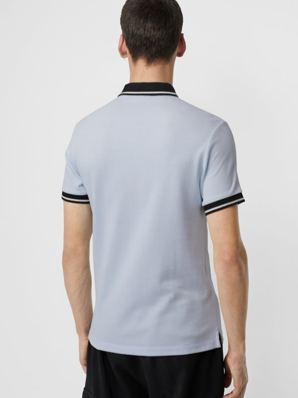 Tipped Cotton Piqué Polo Shirt in Light Indigo - Men | Burberry Canada - cell image 2