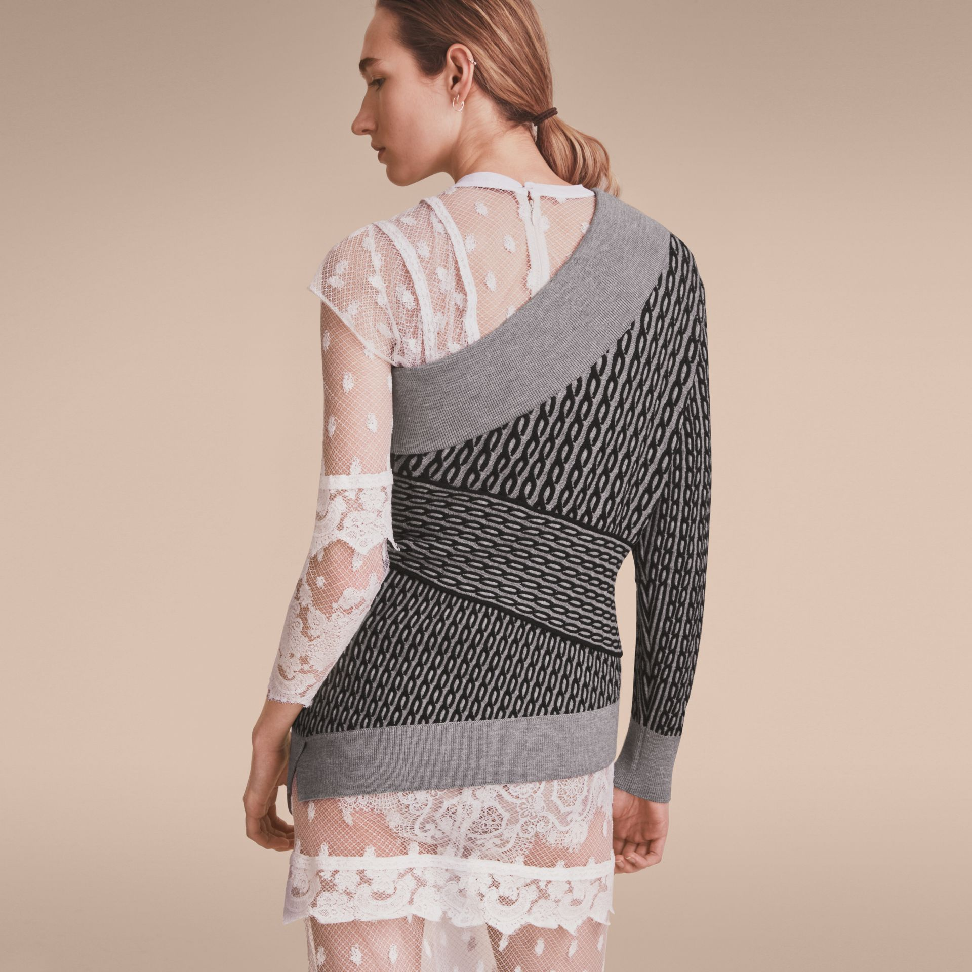 Cable Knit Wool Blend One-shoulder Sweater in Grey Melange/black - Women | Burberry - gallery image 3