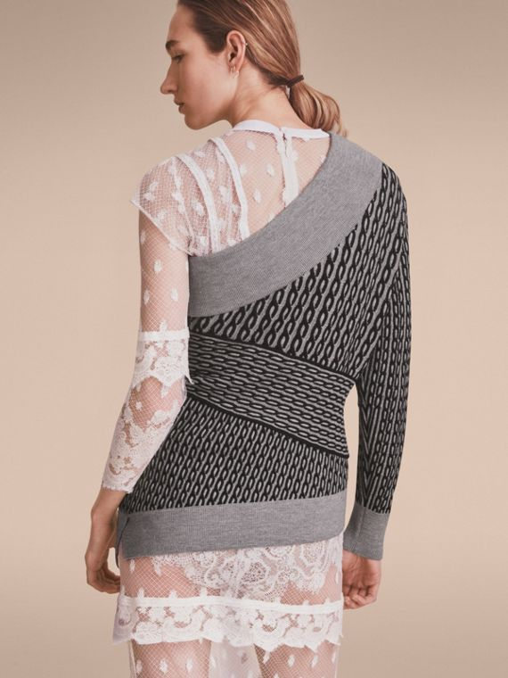 Cable Knit Wool Blend One-shoulder Sweater in Grey Melange/black - Women | Burberry - cell image 2