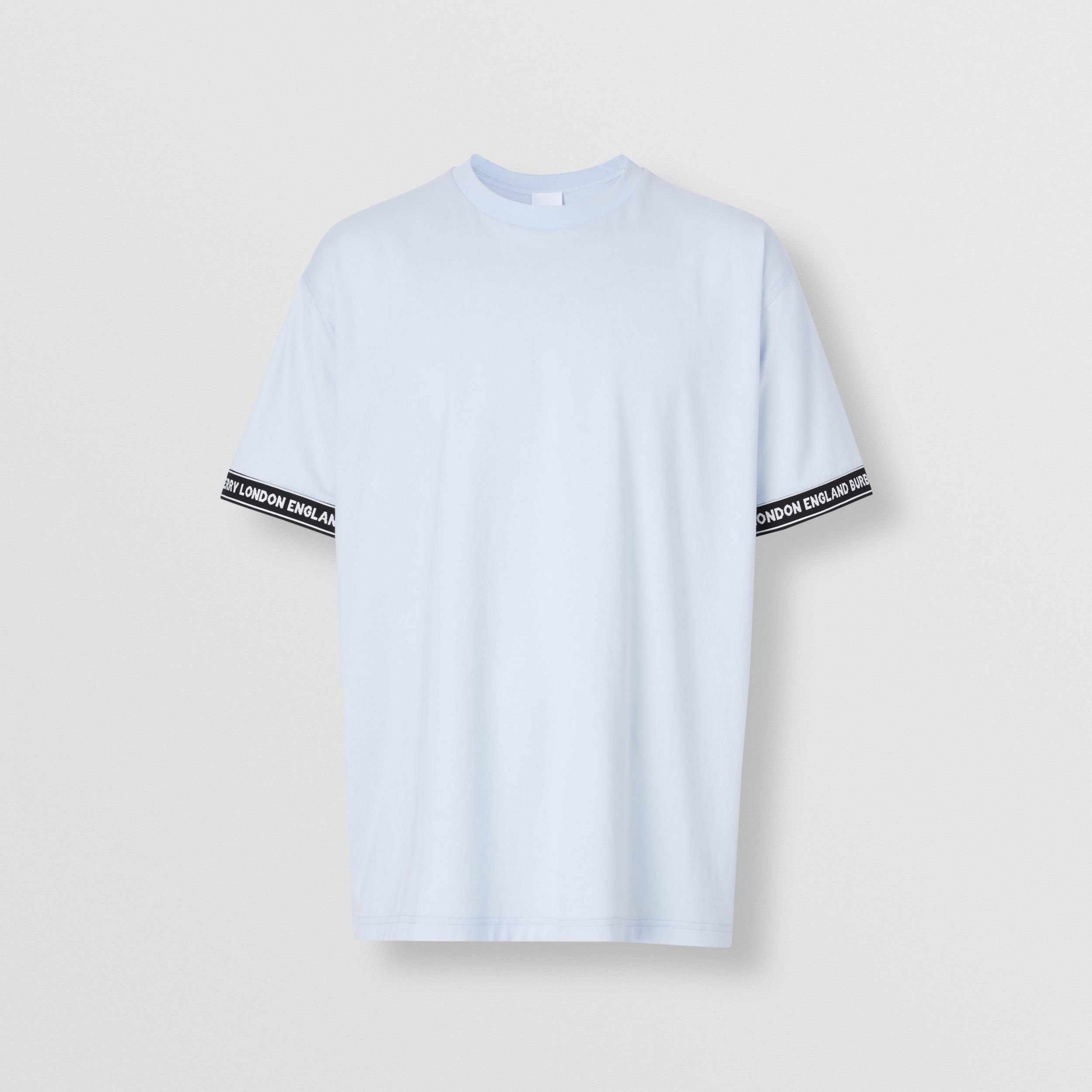 Logo Tape Cotton Oversized T-shirt in Pale Blue - Men | Burberry - 4