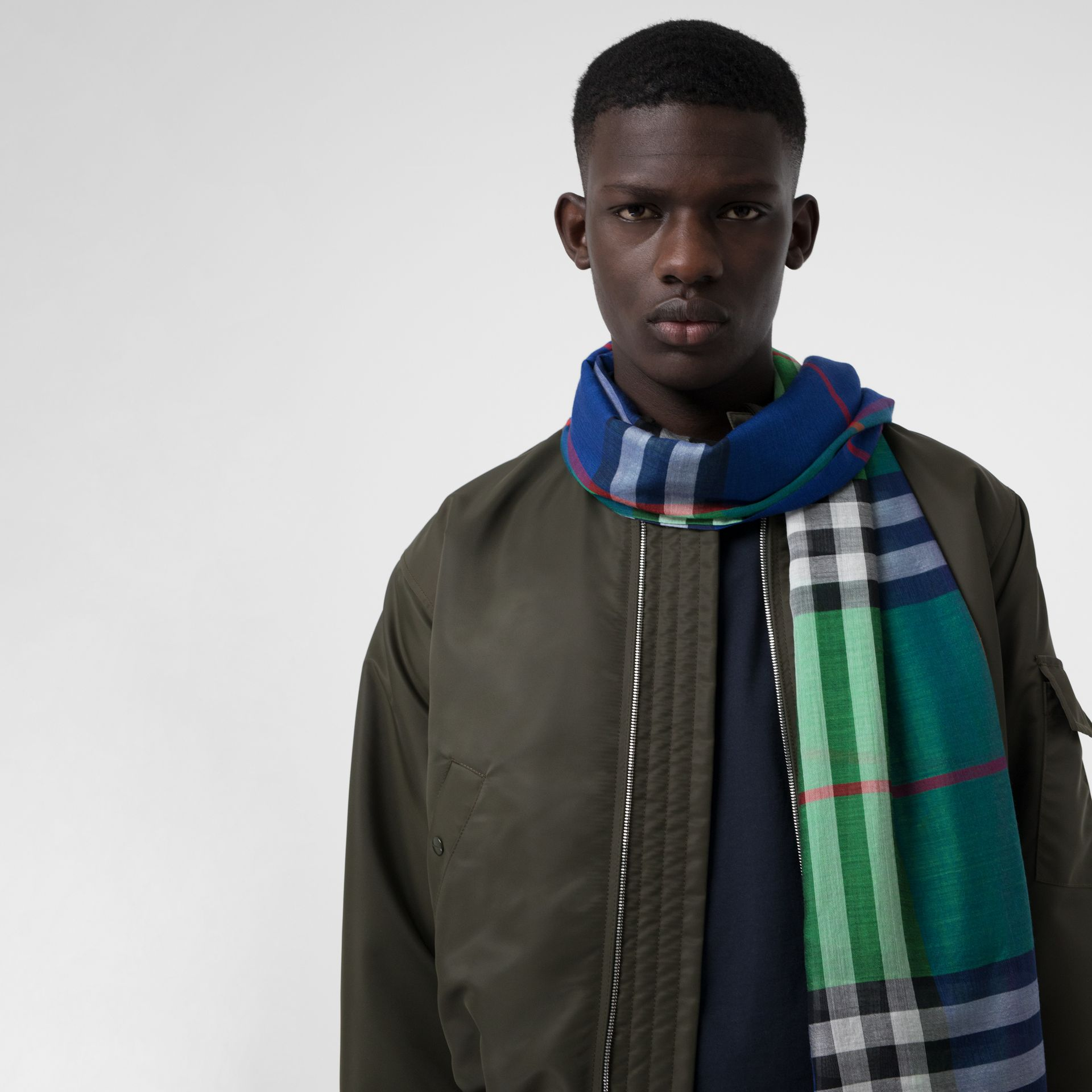 Colour Block Check Wool Silk Scarf in Teal | Burberry United Kingdom - gallery image 6