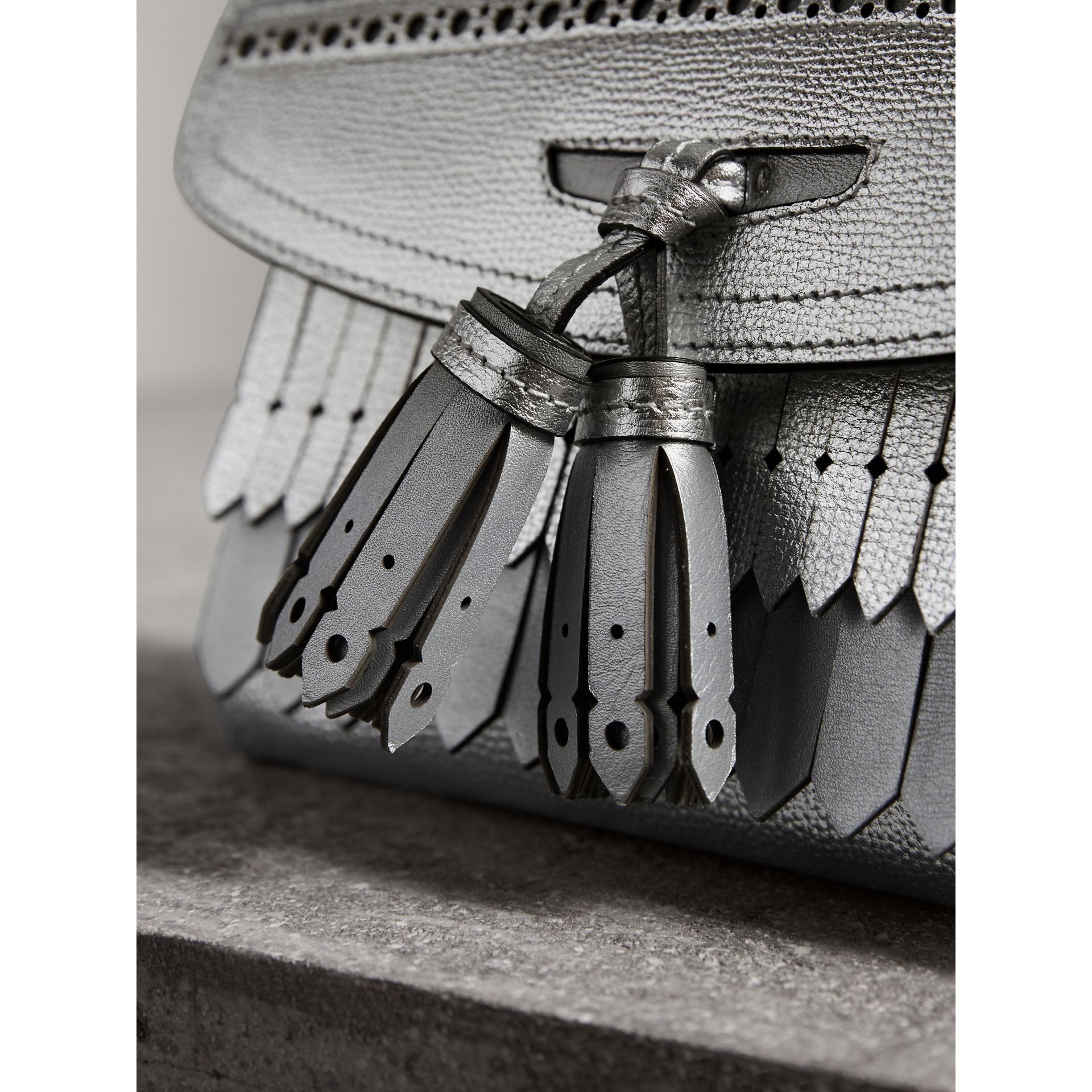 Brogue Detail Metallic Leather Crossbody Bag in Silver - Women | Burberry - gallery image 1