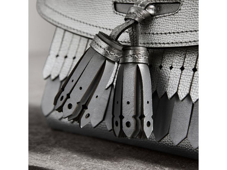 Brogue Detail Metallic Leather Crossbody Bag in Silver - Women | Burberry United Kingdom - cell image 1
