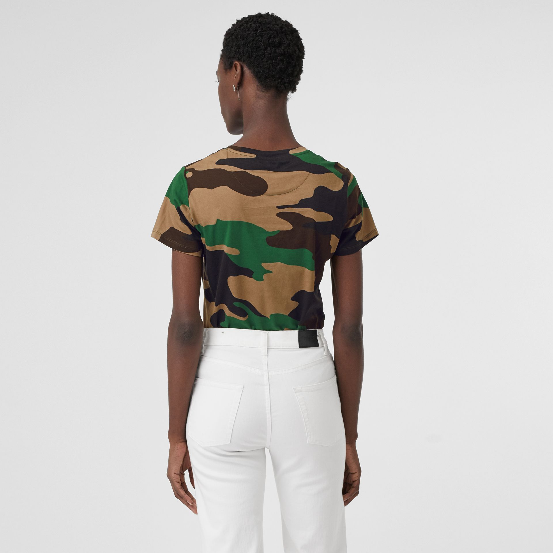 Camouflage Print Cotton Jersey T-shirt in Forest Green - Women | Burberry Singapore - gallery image 2