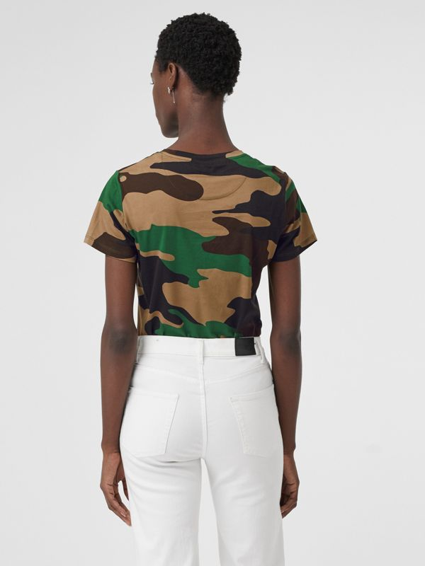 Camouflage Print Cotton Jersey T-shirt in Forest Green - Women | Burberry Canada - cell image 2
