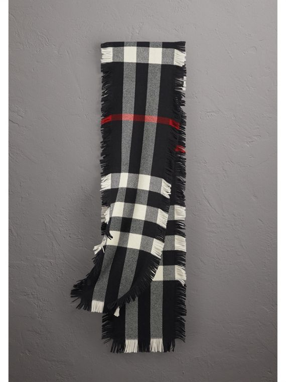 Fringed Check Wool Scarf in Black