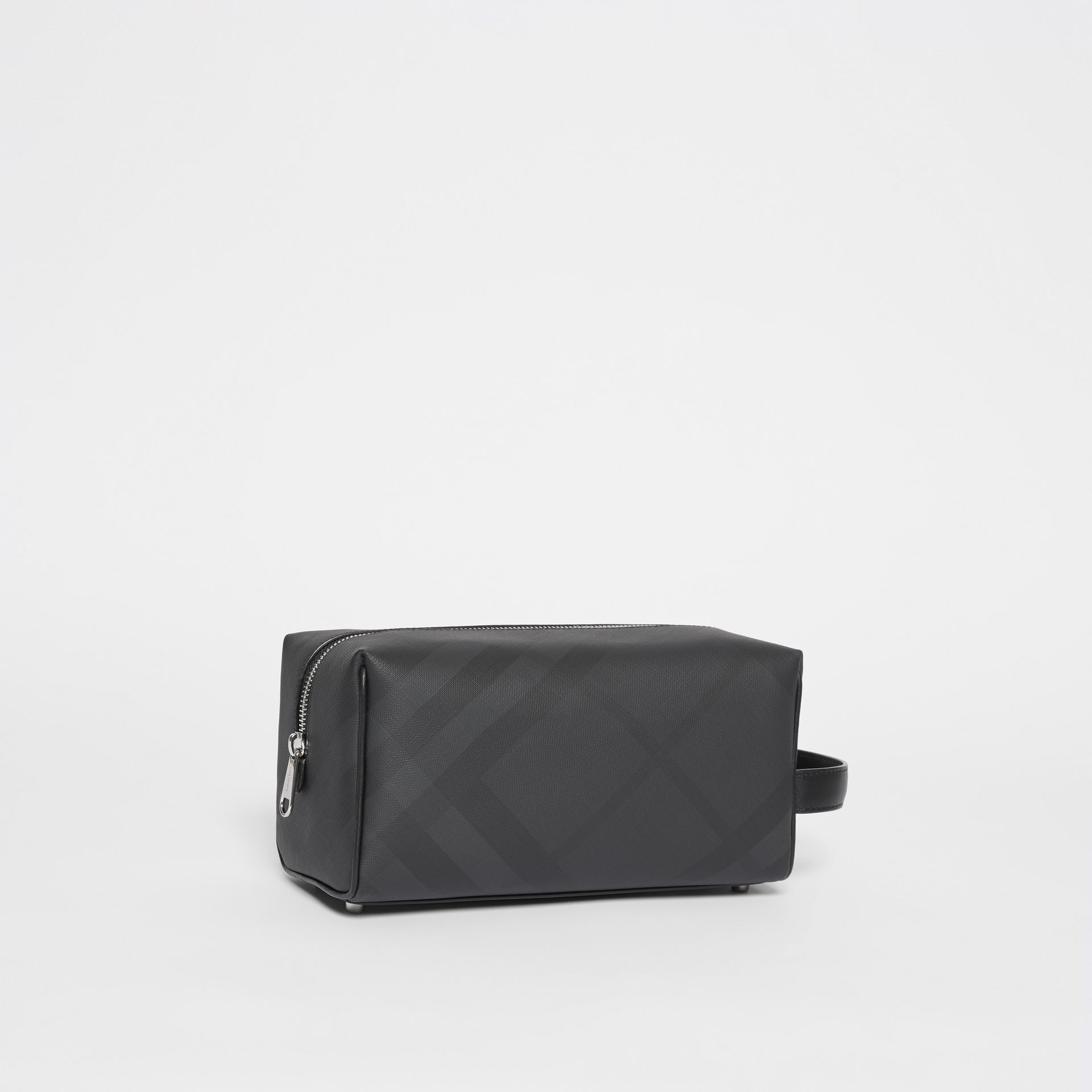 London Check and Leather Travel Pouch in Dark Charcoal - Men | Burberry United States - gallery image 6