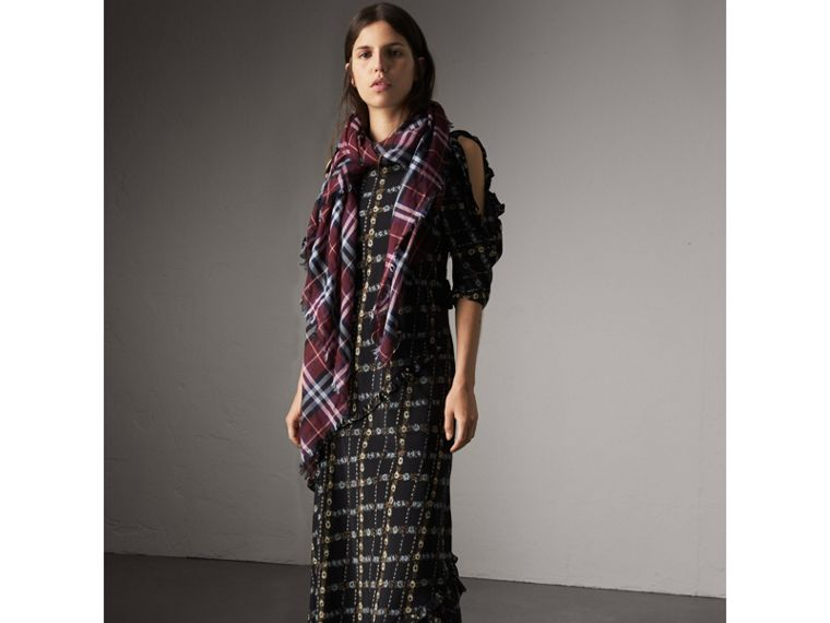 Check Modal and Wool Square Scarf in Claret | Burberry United Kingdom - cell image 2