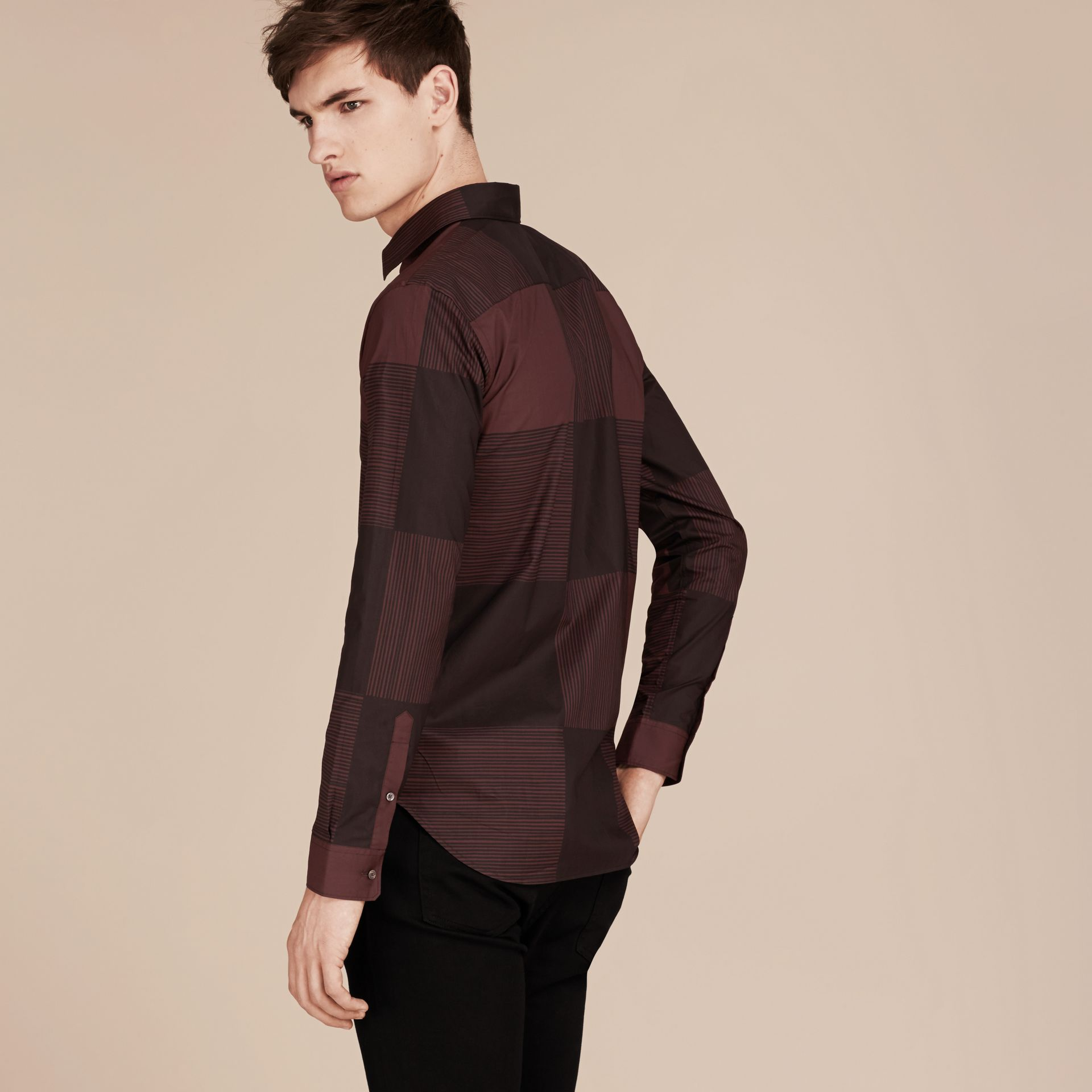 Burgundy Check Cotton Shirt Burgundy - gallery image 3