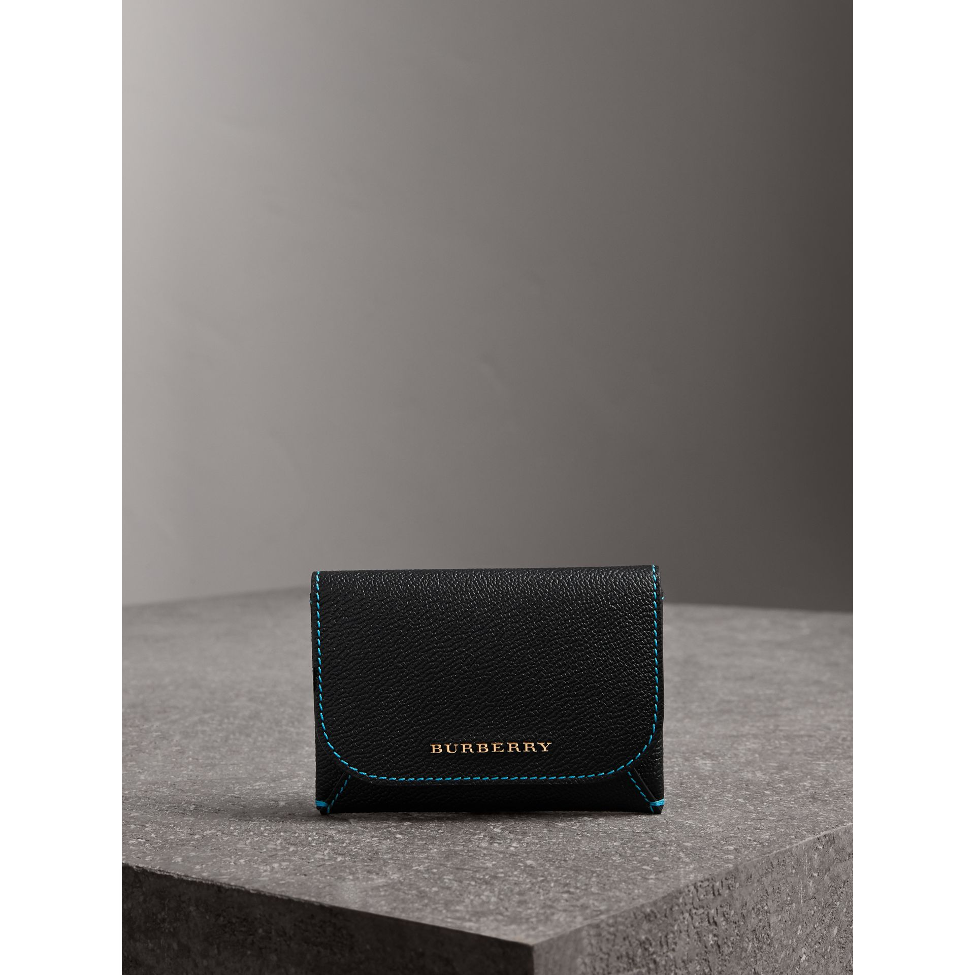 Leather Coin Case with Removable Card Compartment in Black/multicolour | Burberry - gallery image 4
