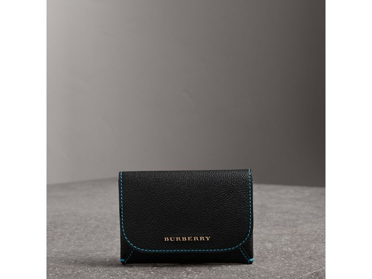 Leather Coin Case with Removable Card Compartment in Black/multicolour - Women | Burberry - cell image 4
