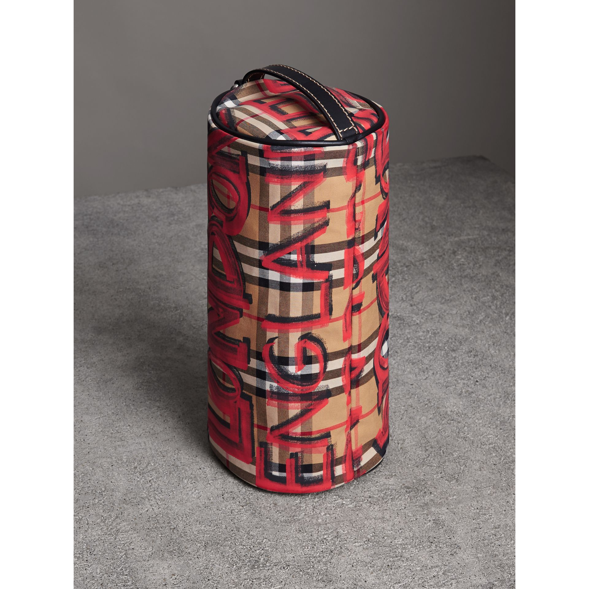 The Small Graffiti Print Vintage Check Barrel Bag in Black - Women | Burberry United Kingdom - gallery image 4