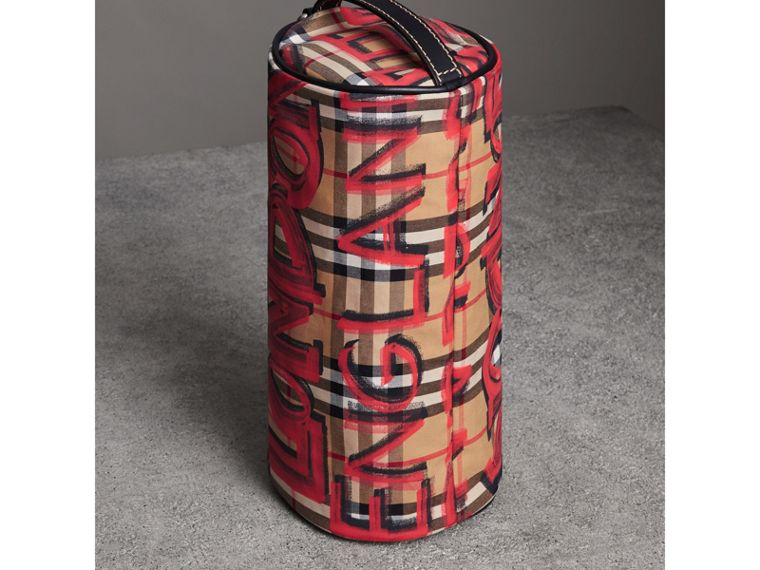 The Small Graffiti Print Vintage Check Barrel Bag in Black - Women | Burberry - cell image 4