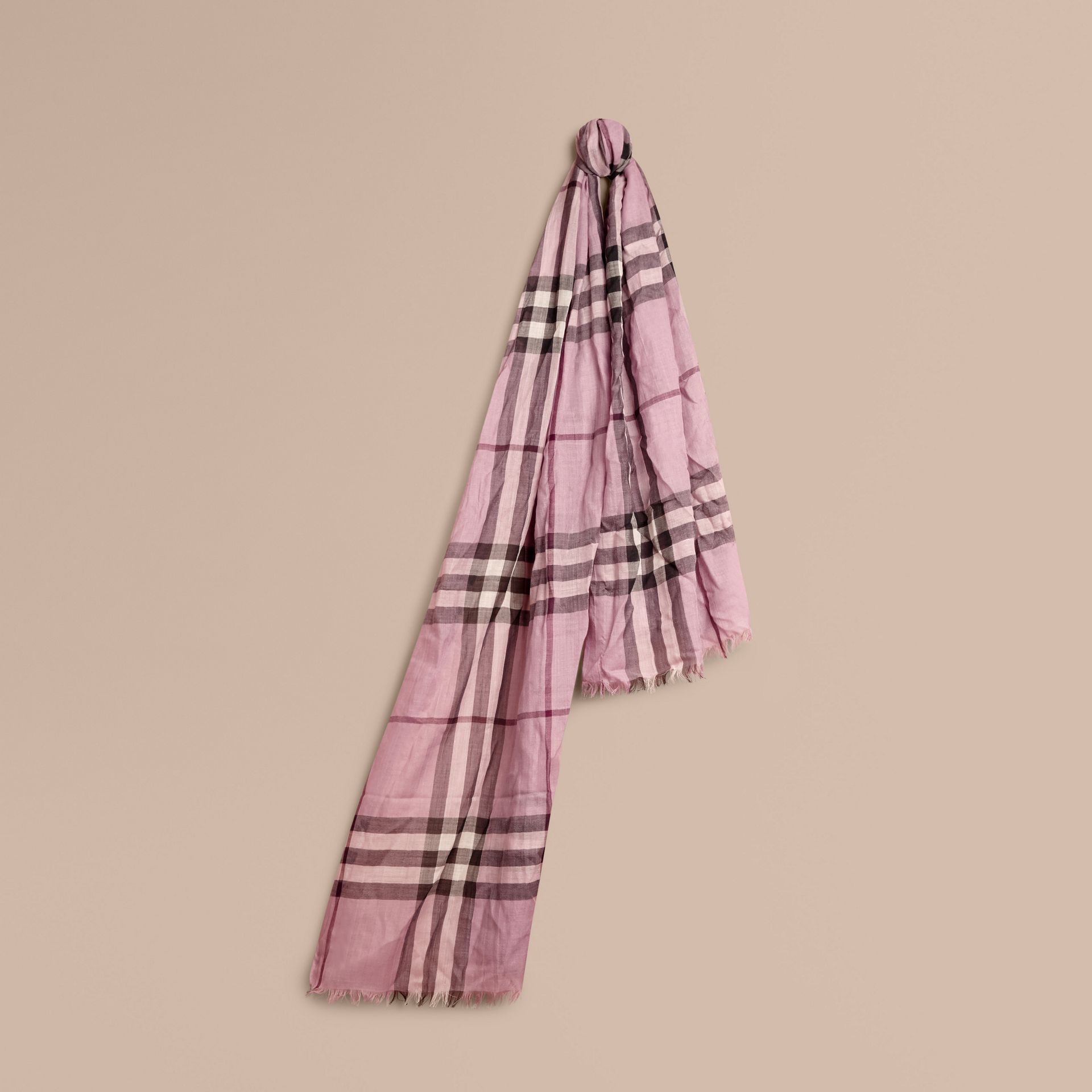 Lightweight Check Wool and Silk Scarf in Pink Heather - gallery image 1