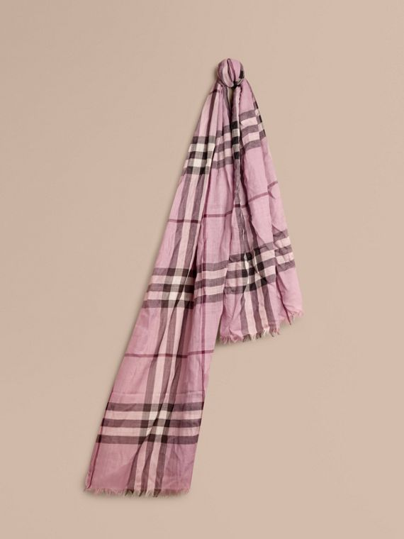 Lightweight Check Wool and Silk Scarf in Pink Heather