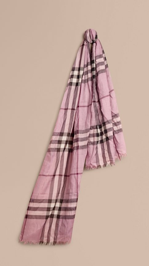 Pink heather check Lightweight Check Wool and Silk Scarf Pink Heather - Image 1