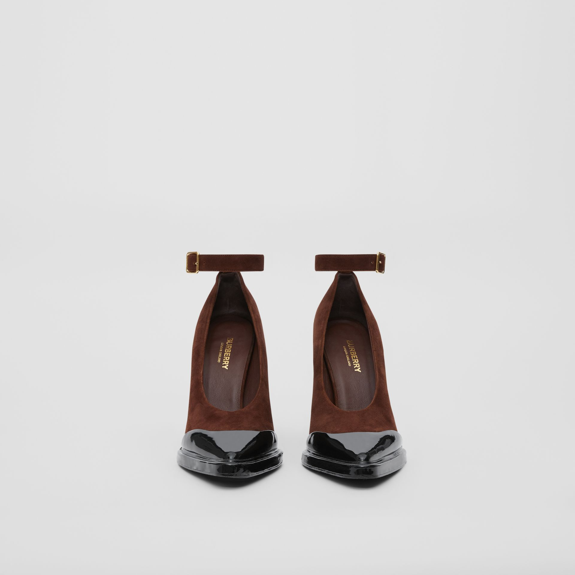 Toe Cap Detail Leather Point-toe Pumps in Dark Mocha - Women | Burberry United Kingdom - gallery image 3