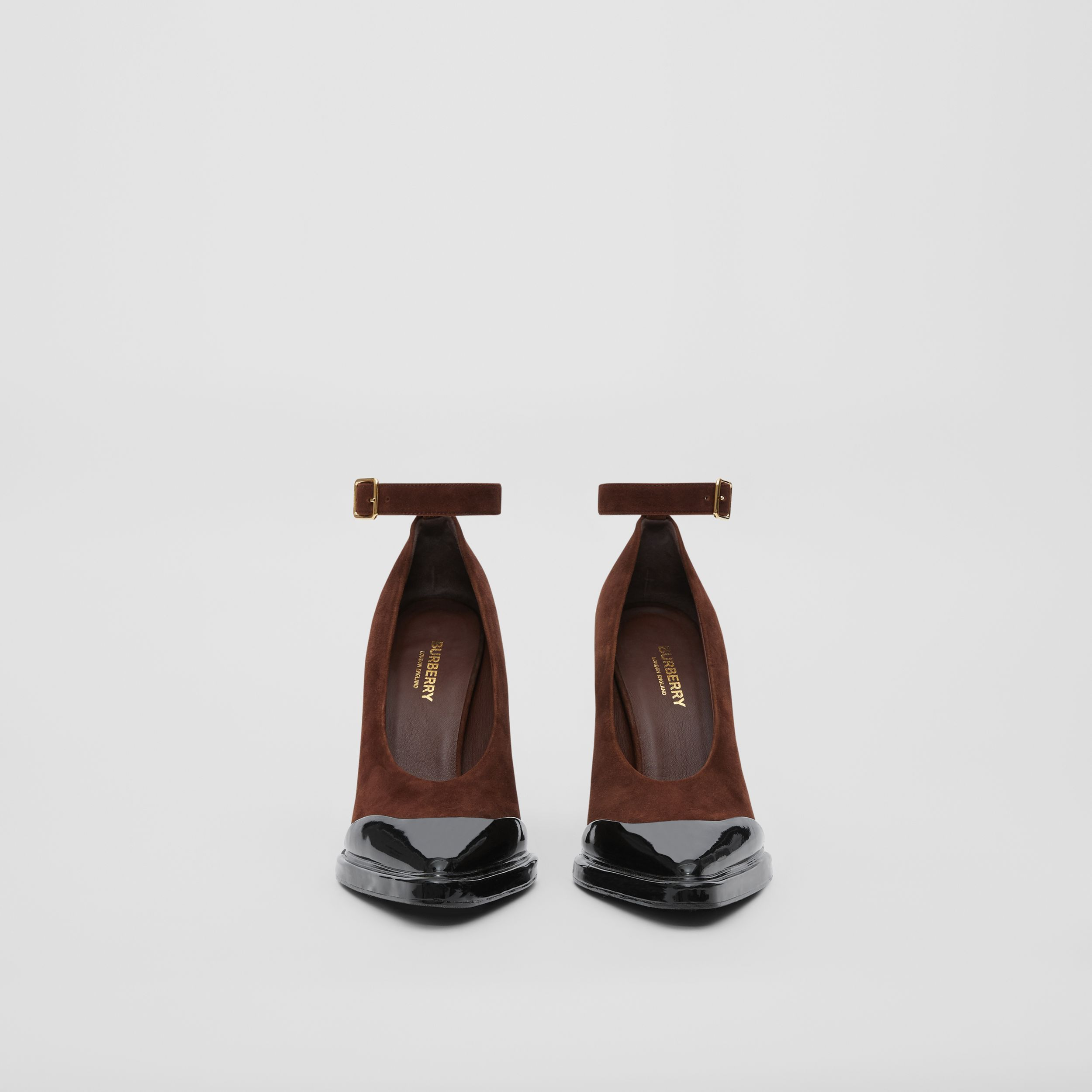 Toe Cap Detail Leather Point-toe Pumps in Dark Mocha - Women | Burberry Hong Kong S.A.R - 4