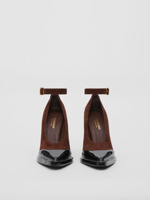 Toe Cap Detail Leather Point-toe Pumps in Dark Mocha - Women | Burberry United Kingdom - cell image 3