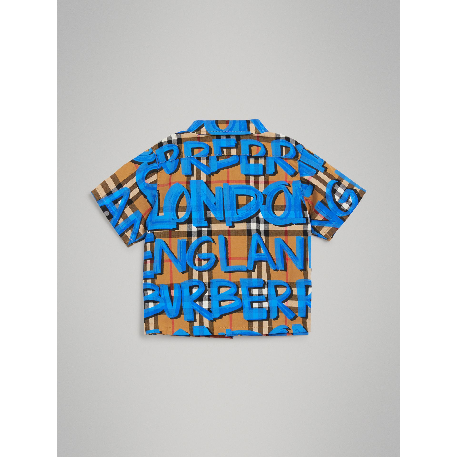 Graffiti Print Cotton Three-piece Baby Gift Set in Bright Blue - Children | Burberry United States - gallery image 3