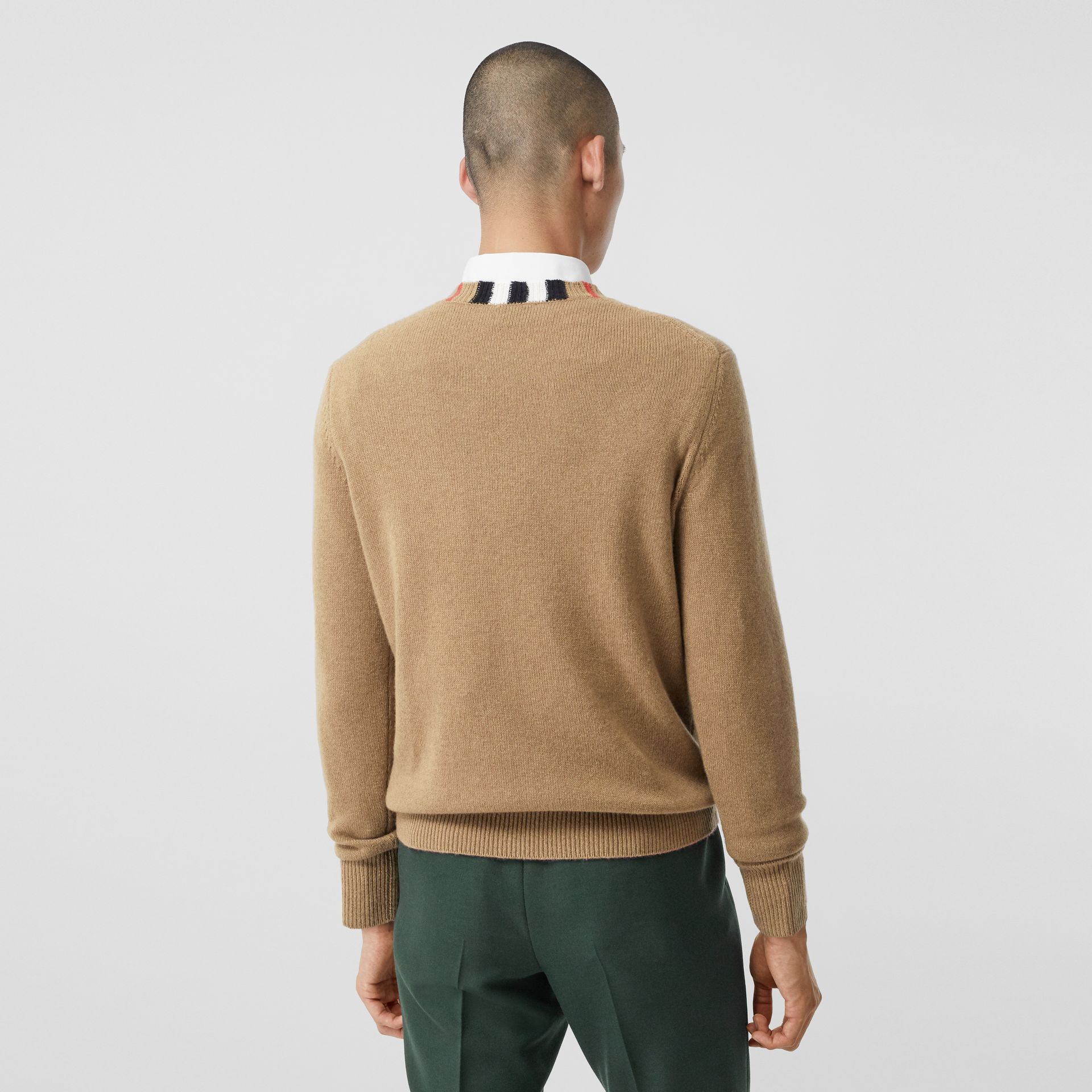Icon Stripe Trim Cashmere Sweater in Camel - Men | Burberry - gallery image 2