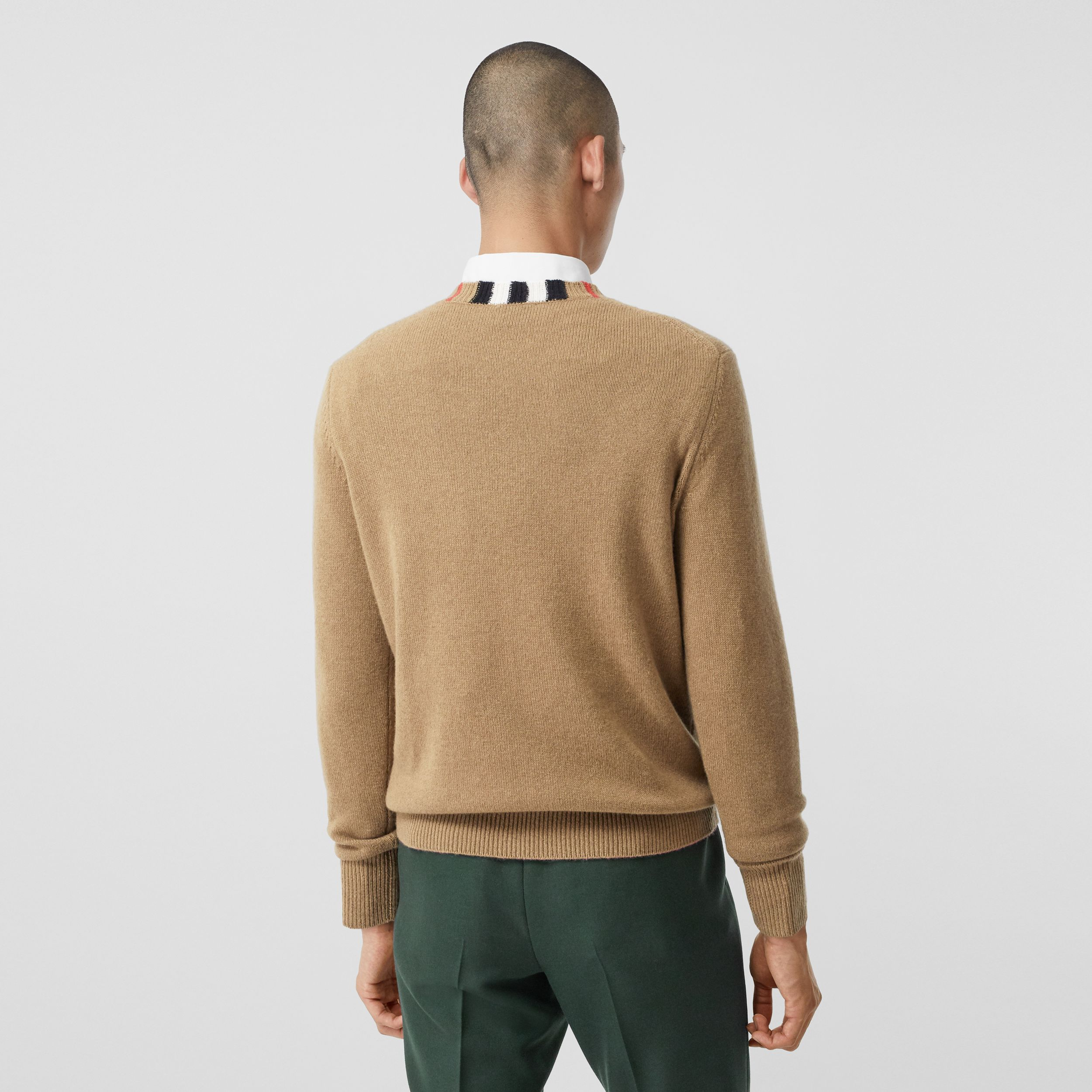 Icon Stripe Trim Cashmere Sweater in Camel - Men | Burberry - 3