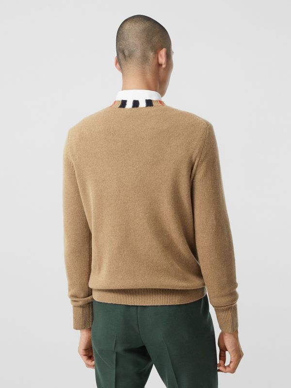 Icon Stripe Trim Cashmere Sweater in Camel - Men | Burberry - cell image 2