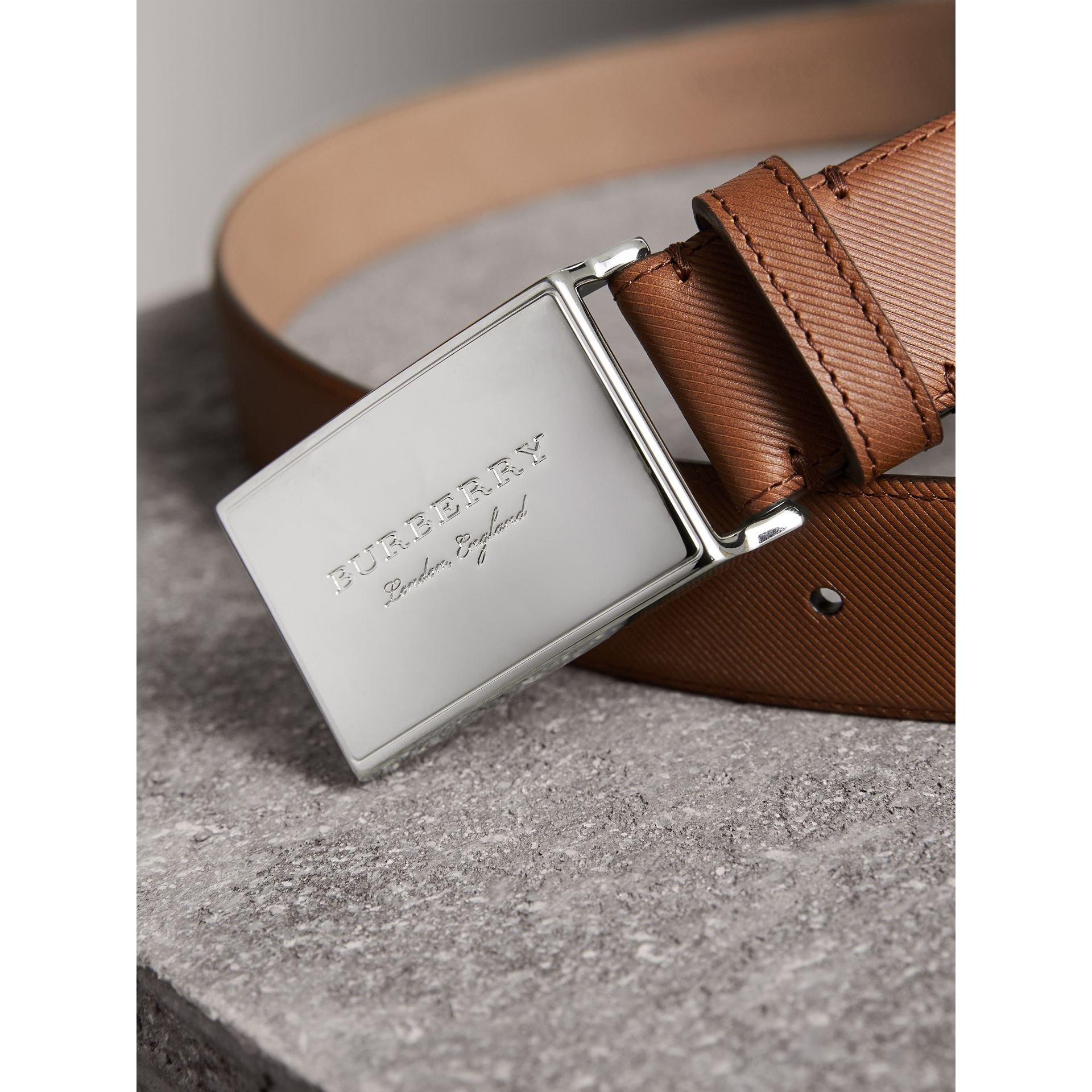 Brass Plaque Buckle Trench Leather Belt in Tan - Men | Burberry United Kingdom - gallery image 1