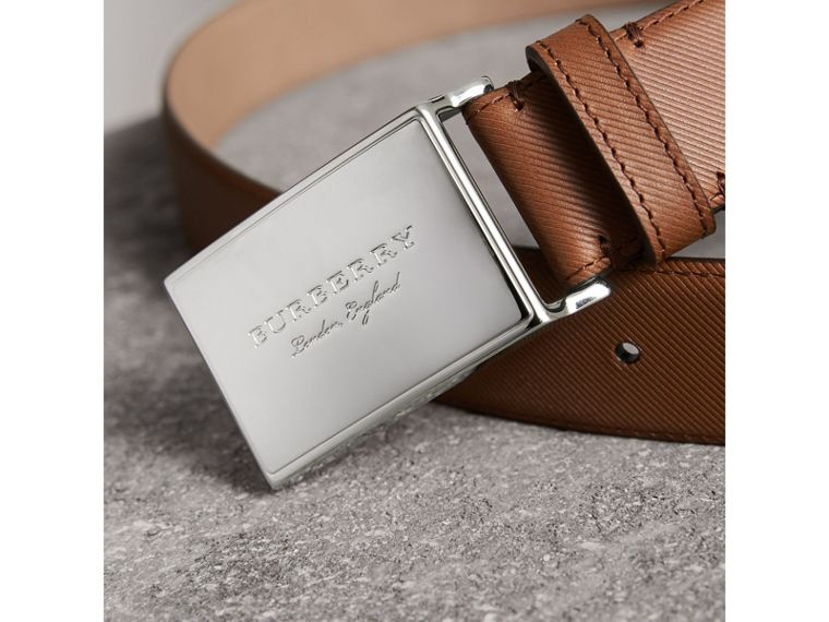 Brass Plaque Buckle Trench Leather Belt in Tan - Men | Burberry United Kingdom - cell image 1
