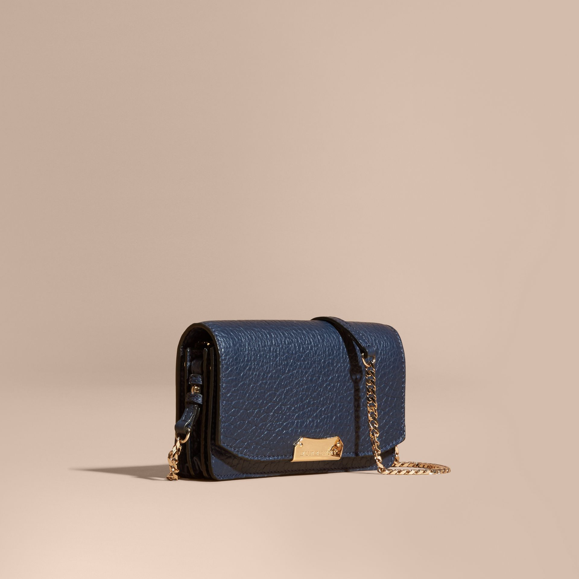 Blue carbon Small signature Grain Leather Clutch Bag with Chain - gallery image 1