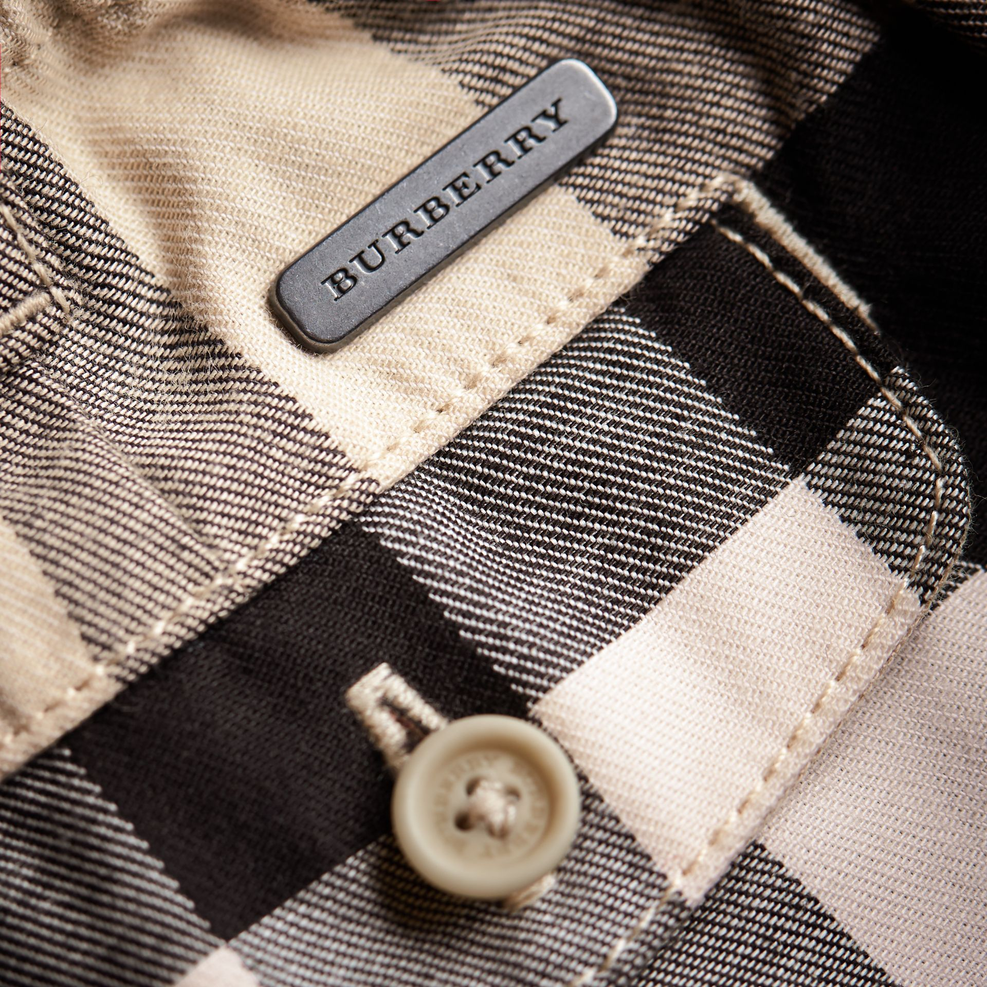 Check Cotton Chino Shorts in Stone | Burberry - gallery image 2