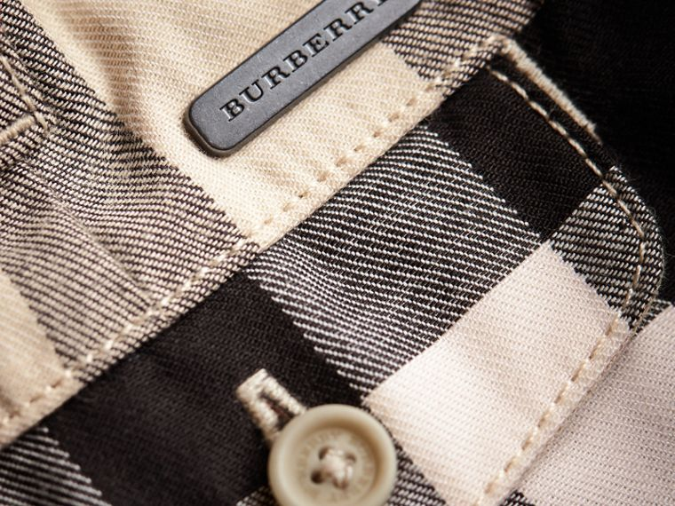 Check Cotton Chino Shorts in Stone | Burberry - cell image 1