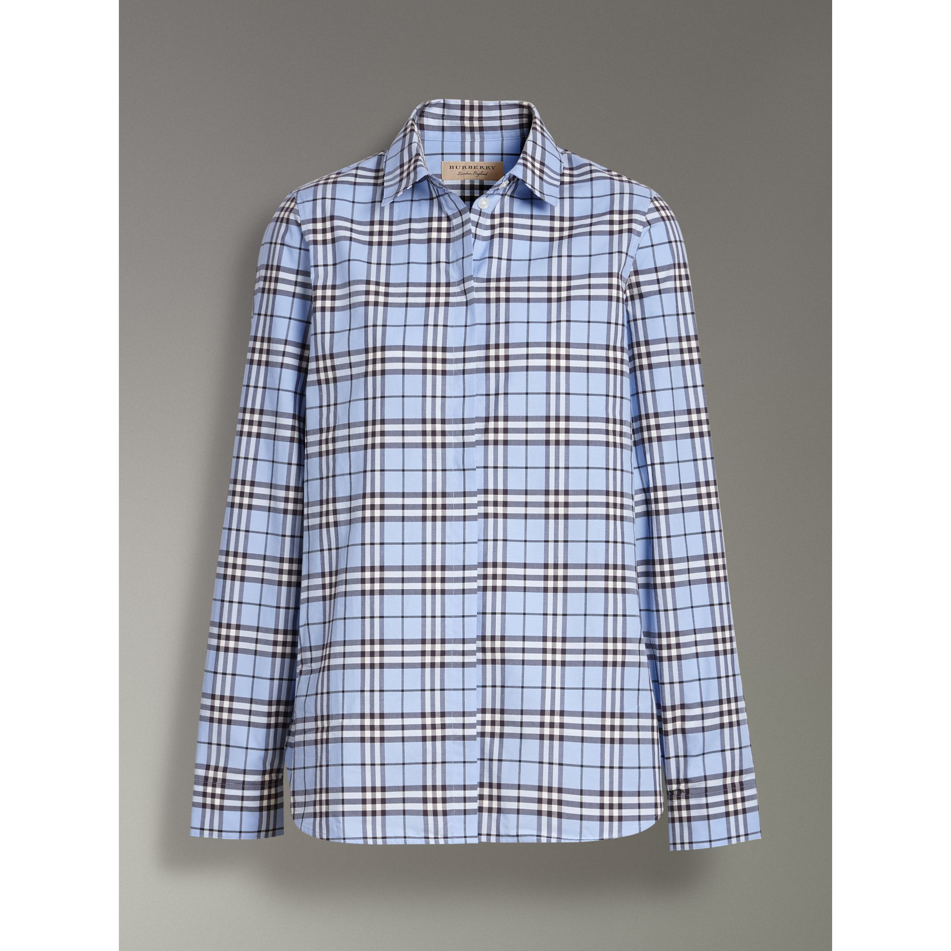 Check Cotton Shirt in Sky Blue - Women | Burberry United States - gallery image 3