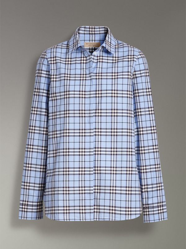 Check Cotton Shirt in Sky Blue - Women | Burberry United States - cell image 3