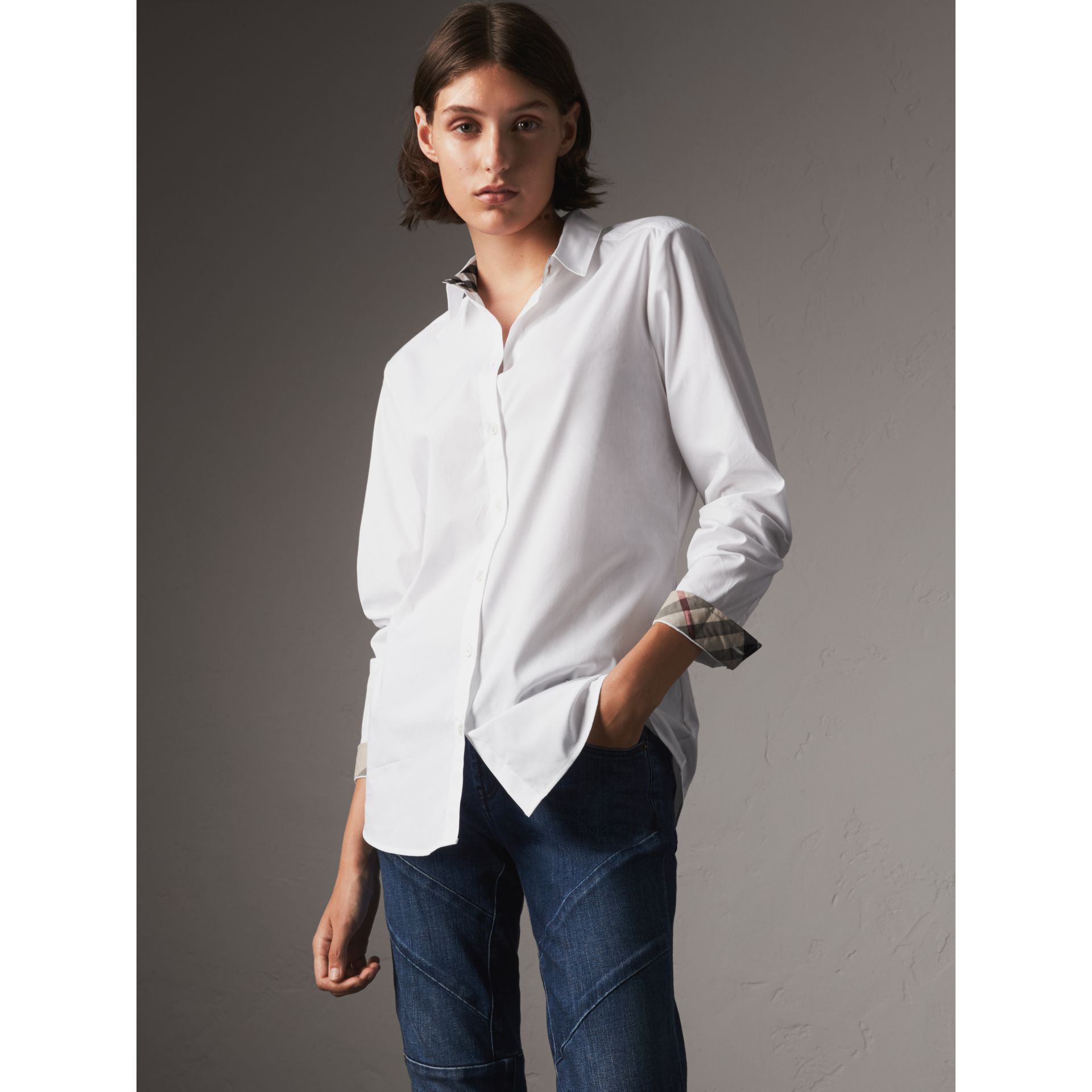 Check Detail Stretch Cotton Shirt - Women | Burberry - gallery image 1
