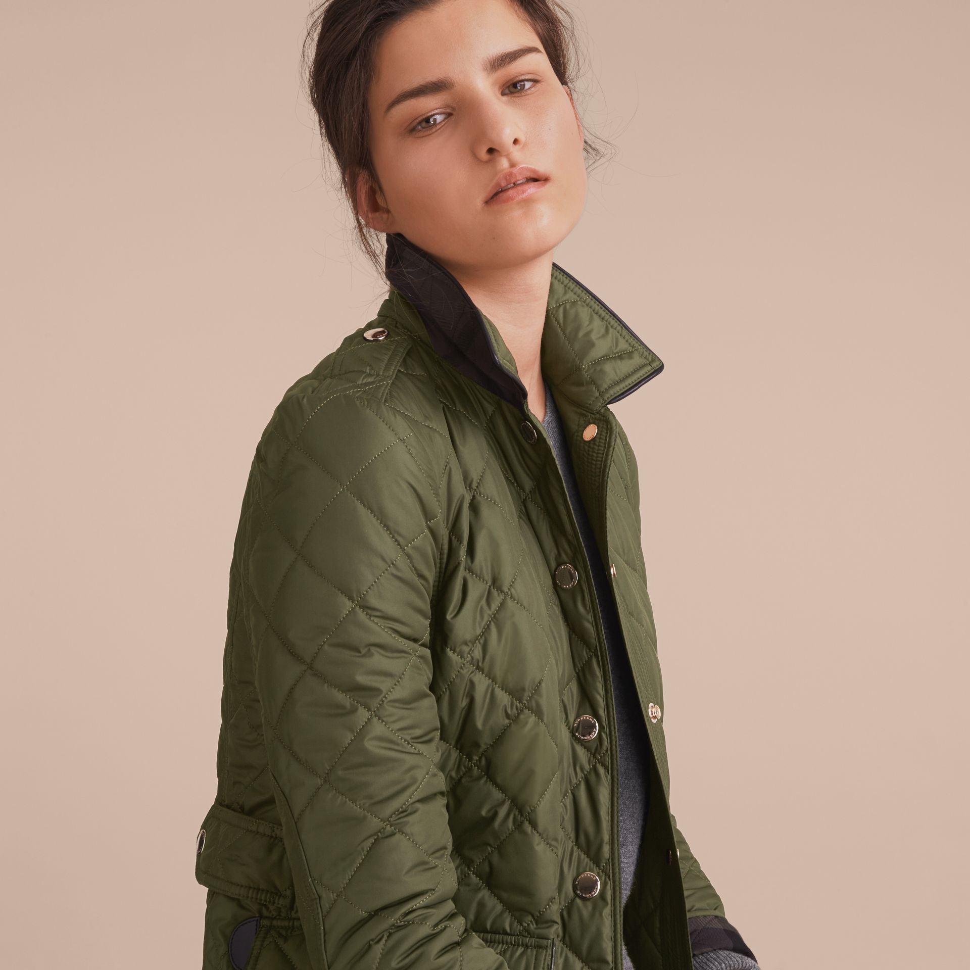 Check Detail Diamond Quilted Jacket in Military Green - gallery image 5