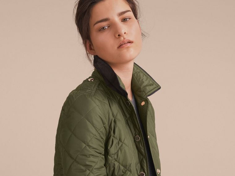 Check Detail Diamond Quilted Jacket in Military Green - cell image 4