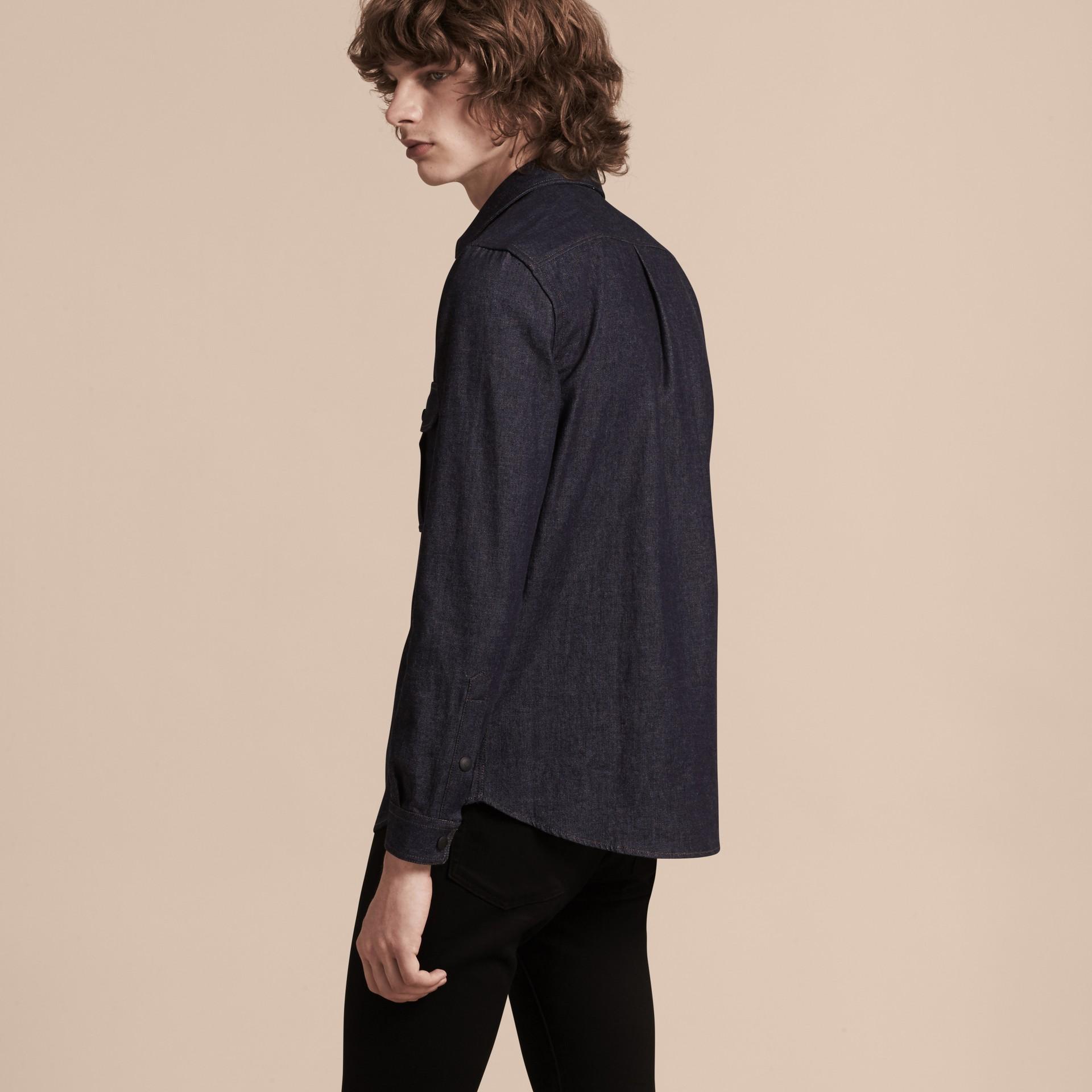 Indigo Slim Fit Japanese Denim Shirt - gallery image 3