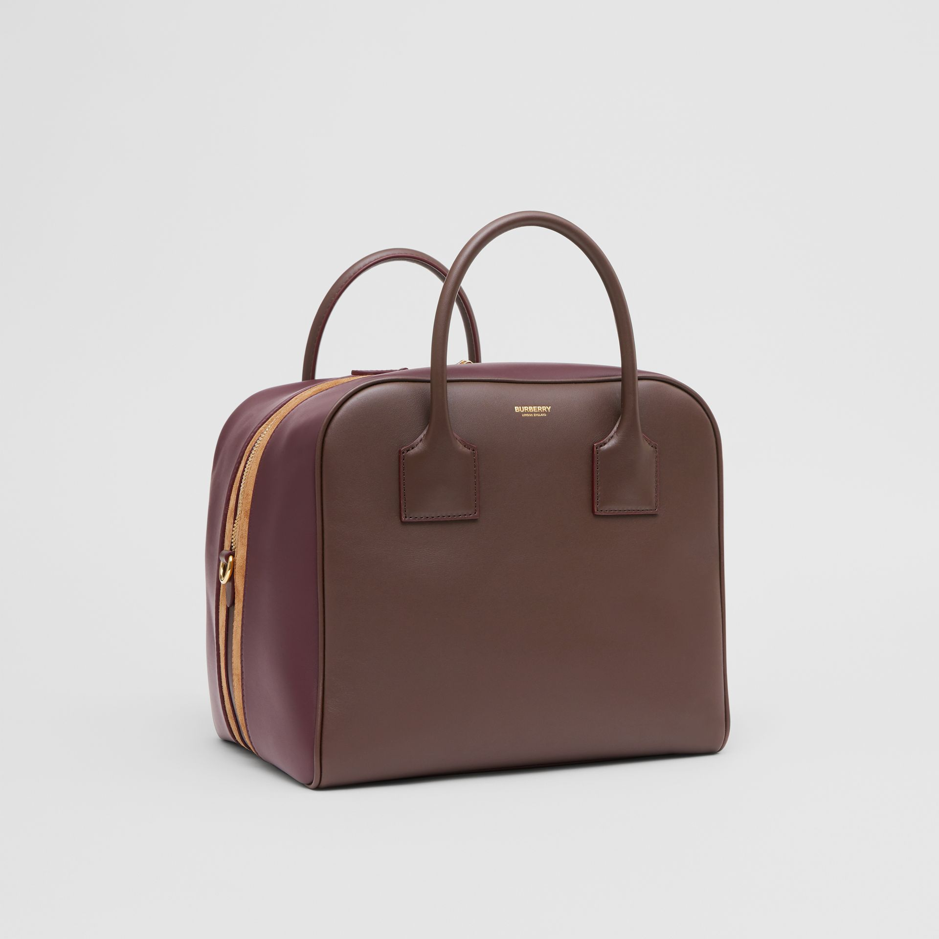Medium Leather and Suede Cube Bag in Mahogany - Women | Burberry - gallery image 6