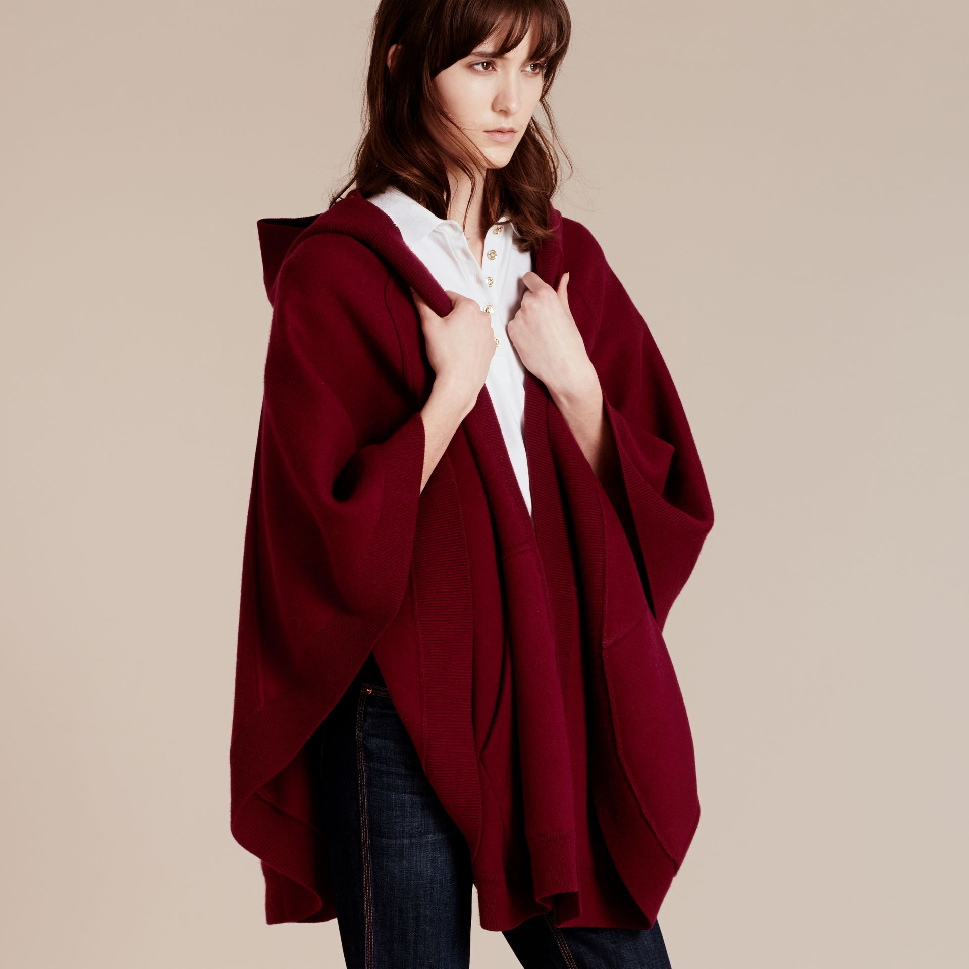 Deep red Wool Cashmere Blend Hooded Poncho Deep Red - gallery image 6