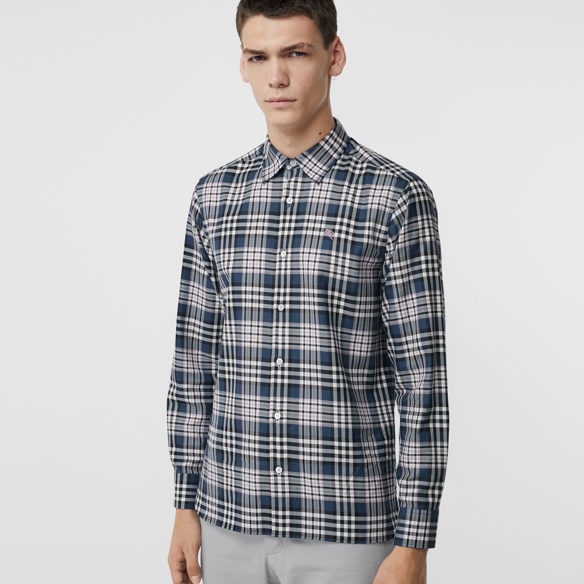 Check Cotton Shirt in Petrol Blue - Men | Burberry - gallery image 0