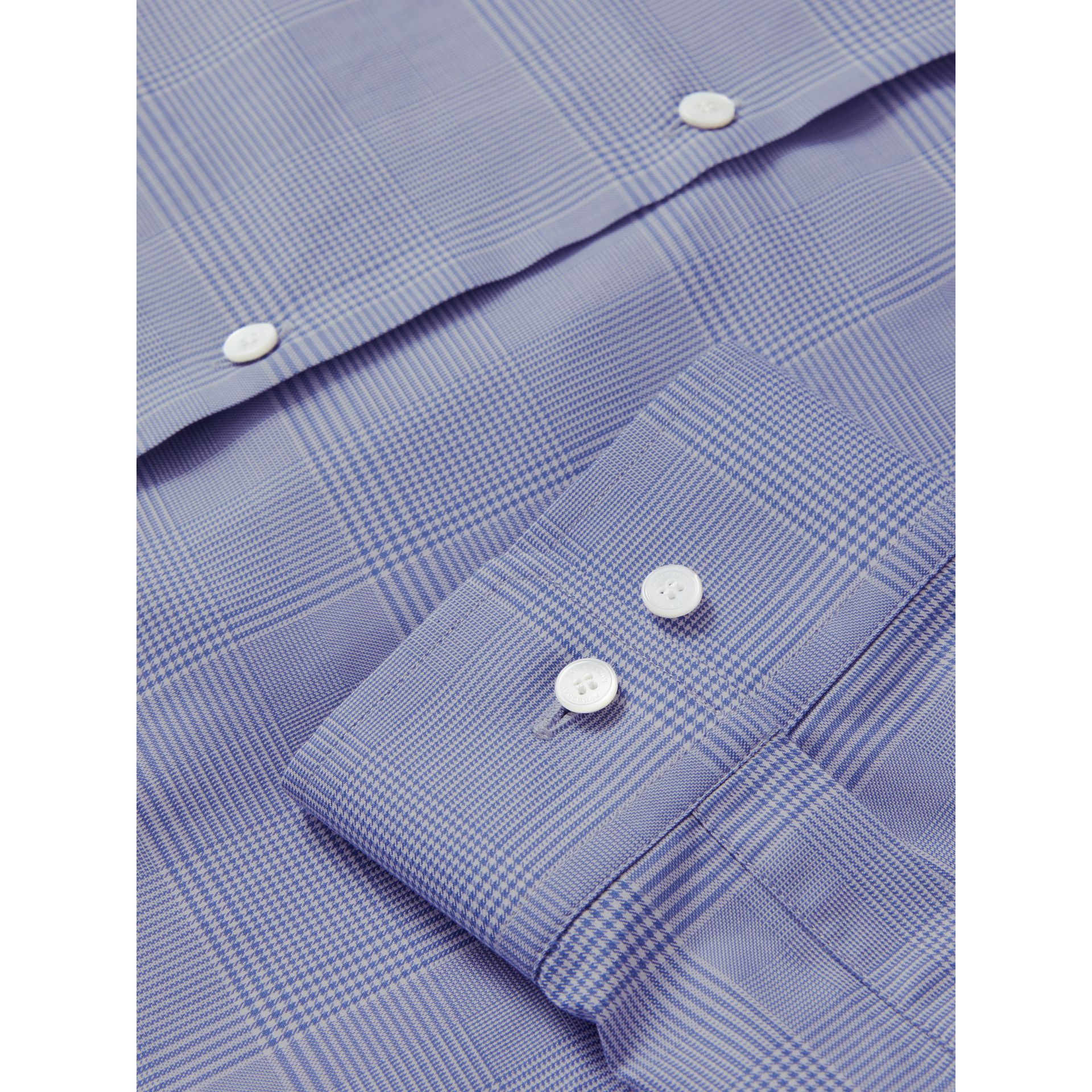 Modern Fit Check Cotton Shirt in City Blue - Men | Burberry United Kingdom - gallery image 1