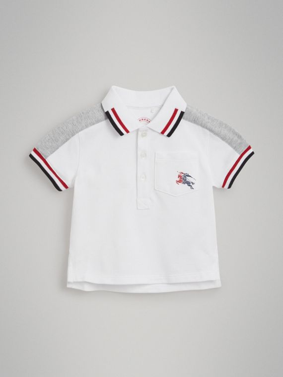 Stripe Detail Cotton Piqué Polo Shirt in White