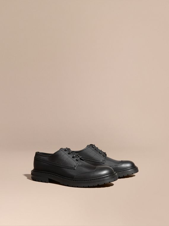 Textured Check Leather Trim Derby Shoes Black