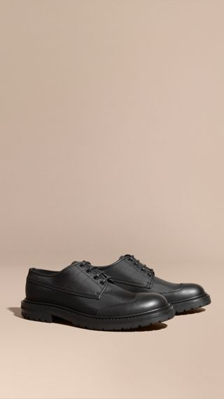 Textured Check Leather Trim Derby Shoes