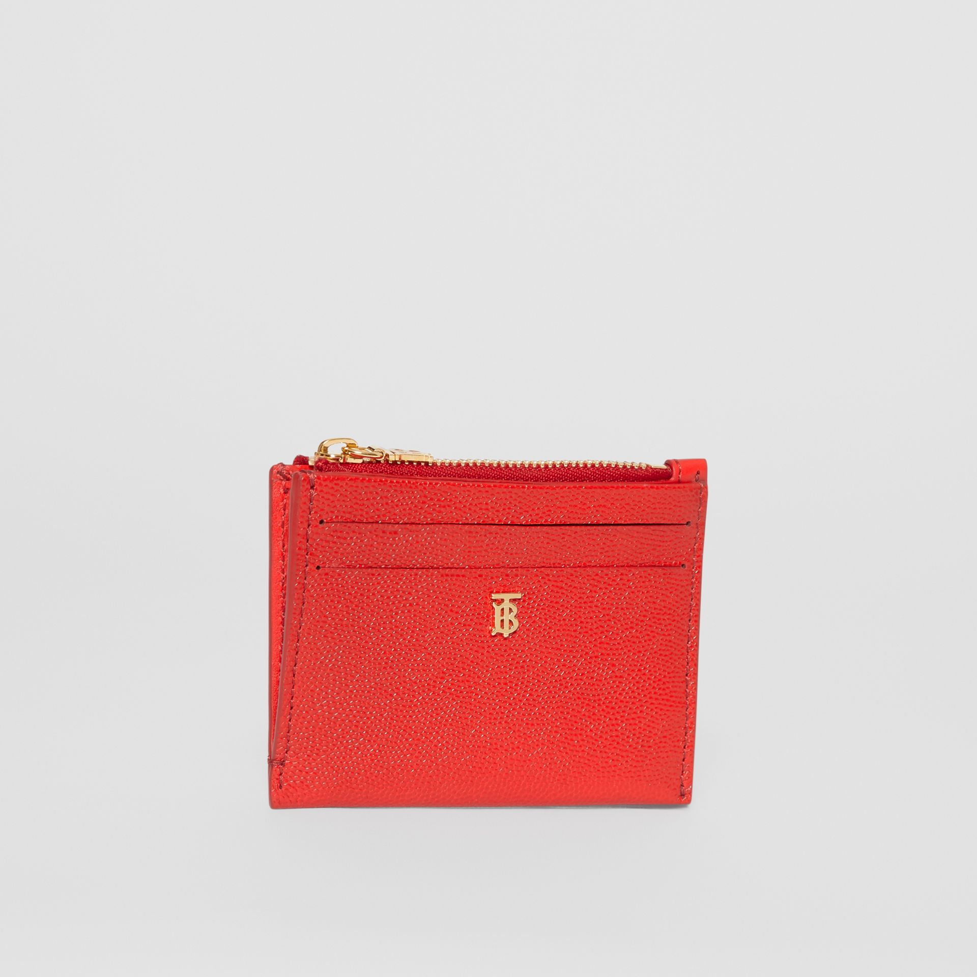 Monogram Motif Grainy Leather Zip Card Case in Bright Red - Women | Burberry Australia - gallery image 3
