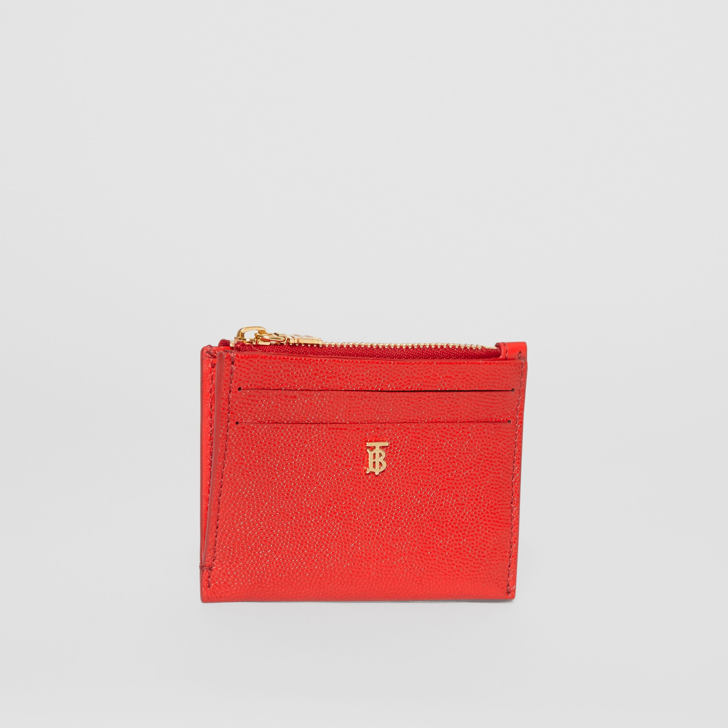 Monogram Motif Grainy Leather Zip Card Case in Bright Red - Women | Burberry - 4
