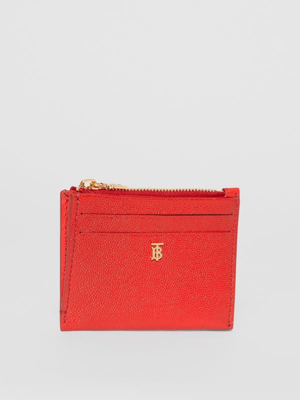 Monogram Motif Grainy Leather Zip Card Case in Bright Red - Women | Burberry - cell image 3